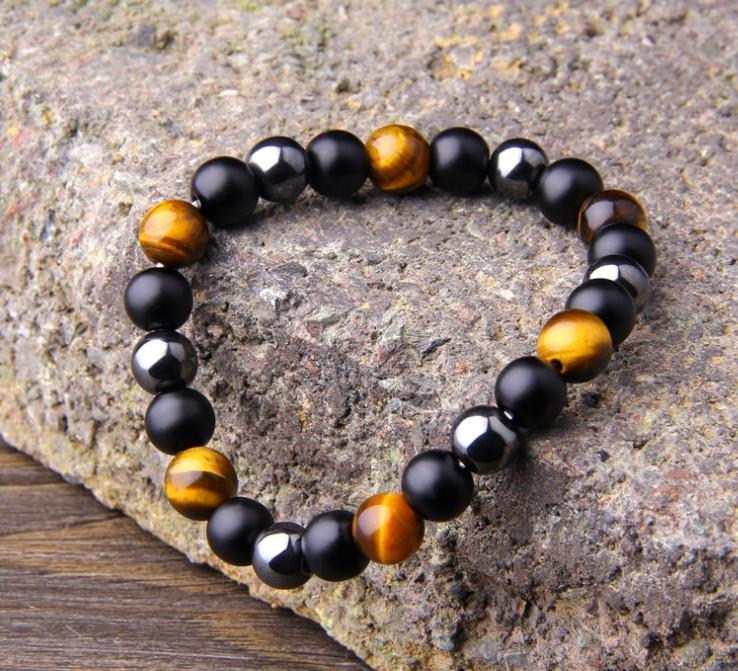 Tiger's Eye Obsidian Hematite Elastic Bracelet